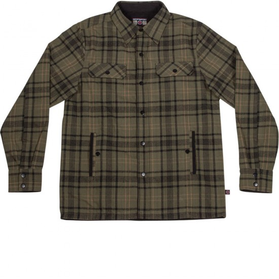 Independent Switch Reversible Overshirt Jacket - Green Plaid/Black