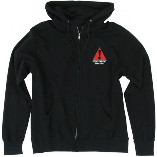 Independent Warning Hooded Zip Sweatshirt - Black