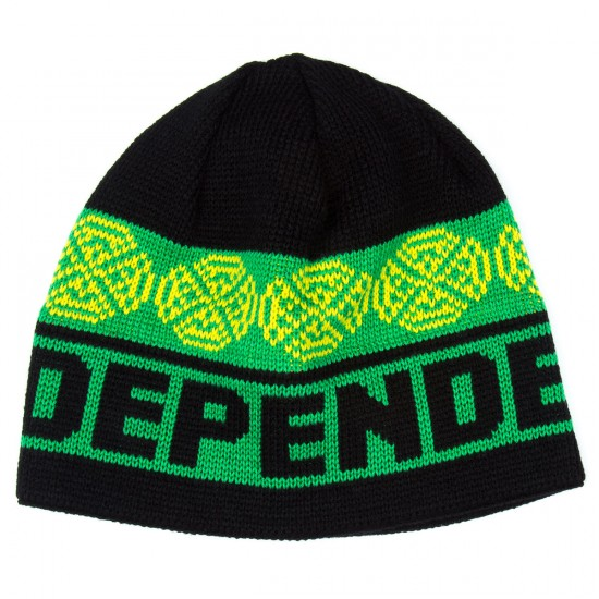 Independent Woven Crosses Skull Cap Beanie - Black/Green/Lime