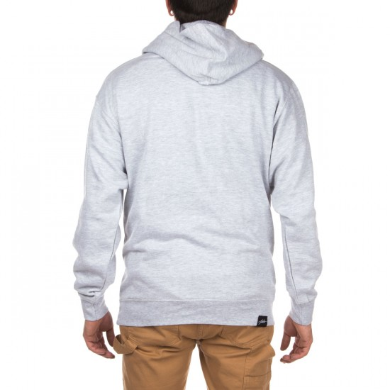 JSLV Posted Pull-Over Fleece Hoodie - Heather Grey