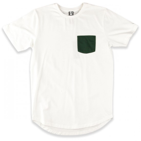 Landyachtz Pocket T-Shirt - White/Green Topo