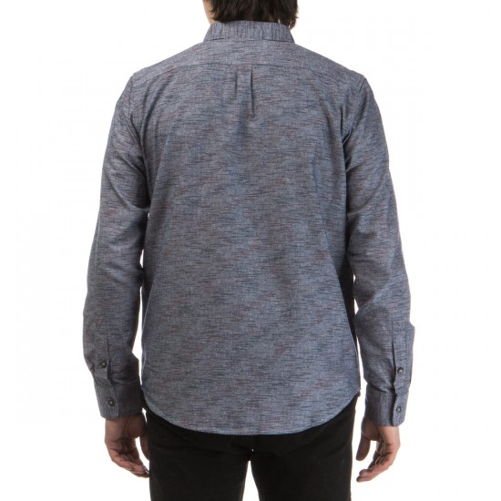 LRG Desmond Long Sleeve Chambray Woven Shirt - Navy
