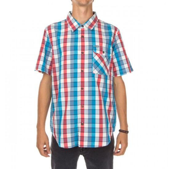 LRG RC Plaid Short Sleeve Woven Shirt - Venice Blue