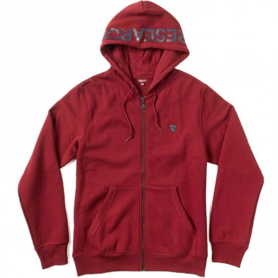 LRG Research Collection Zip Up Hoodie Sweatshirt - Maroon