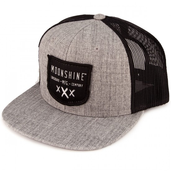 Moonshine Shield Snapback Hat - Heather Grey/Black Mesh