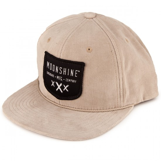 Moonshine Shield Snapback Hat - Tan