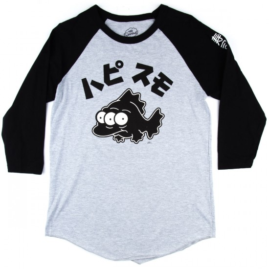 Neff Blinky Raglan T-Shirt - Heather Grey/Black