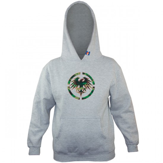 Never Summer Boys Eagle Camo Pullover Sweatshirt - Grey Heather