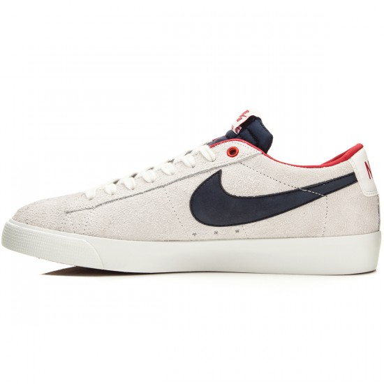 Nike Blazer Low GT Shoes - White/Red/Obsidian - 6.0