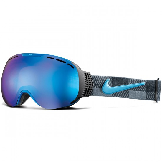 Nike Command Snowboard Goggles - Black/Blue/Tide Pool Buffalo Check with Blue Steal