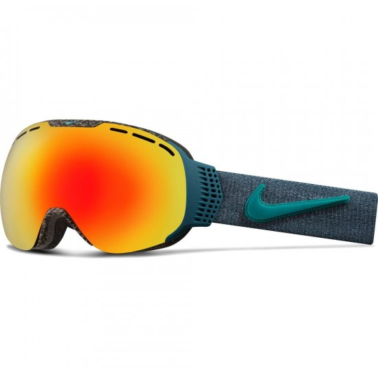 Nike Command Snowboard Goggles - Tortoise/Rio Teal with Red Ion