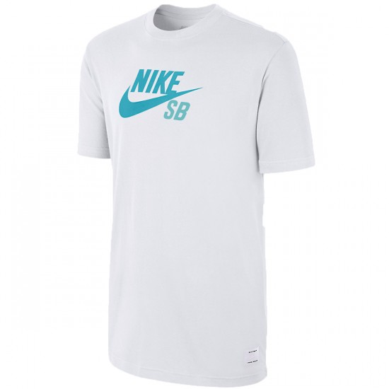 Nike Dri Fit SB Icon Logo T-Shirt - White/White/Dusty Cactus