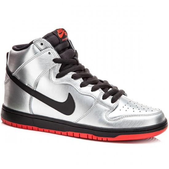 Nike Dunk High Pro SB Shoes - Silver/Red/Black - 6.0