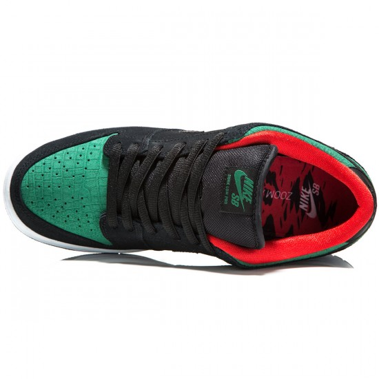 Nike SB Dunk Low Pro Shoes - Black/Gorge Green/Red - 6.0