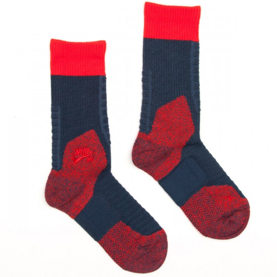 Nike Elite SB Skate Crew Socks - Squadron Blue/Light Crimson