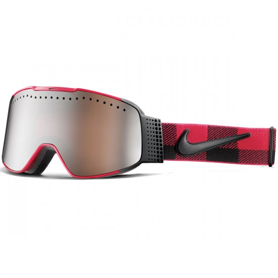 Nike Fade Snowboard Goggles - Red/Black Checker with Jet Ion