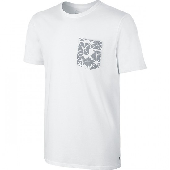 Nike Dri Fit SB Geo Dye Pocket T-Shirt - White/Wolf Grey