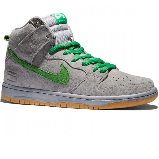 timeless design cfe55 2097f ... netherlands nike sb grey box dunk high premium shoes metallic silver  hyper verde gum 8baa5 5975d
