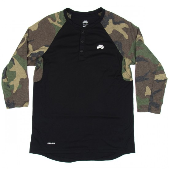 Nike SB 3/4 Sleeve Erdl Henley T-Shirt - Black/White
