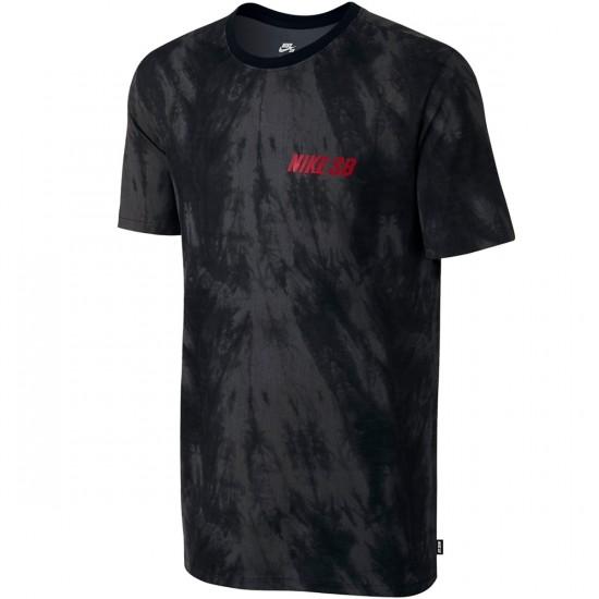 Nike SB Allover Print Shibori T-Shirt - Anthracite/Black/Black/Gym Red