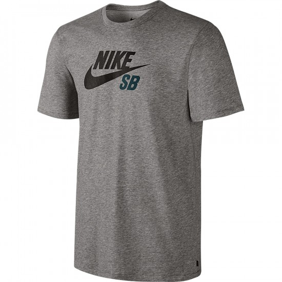Nike SB DF Icon Logo T-Shirt - Dark Grey Heather/Dark Grey Heather/Teal