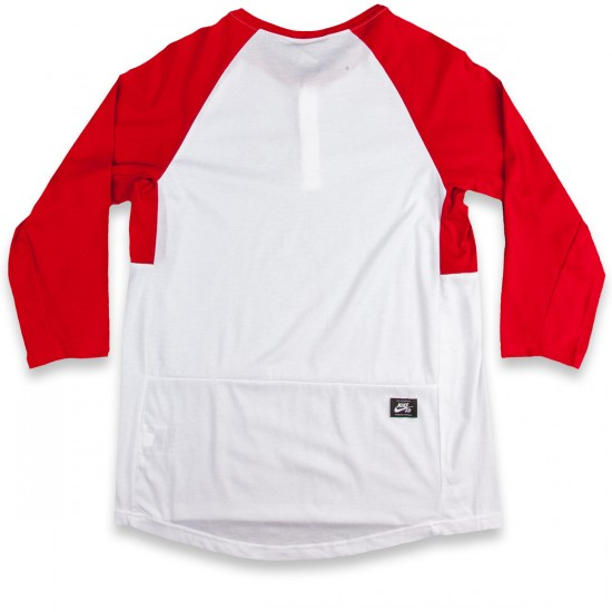 Nike SB Dri-Fit 3/4 Sleeve Henley T-Shirt - Gym Red/White