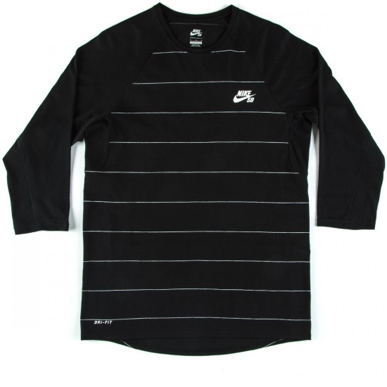 Nike SB Dri-FIT Yarn-Dye Three-Quarter Crew T-Shirt - Black/White