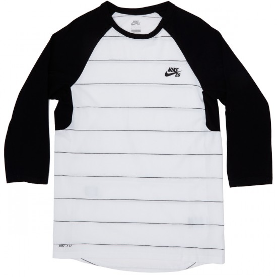 Nike SB Dri-FIT Yarn-Dye Three-Quarter Crew T-Shirt - White/Black/Black