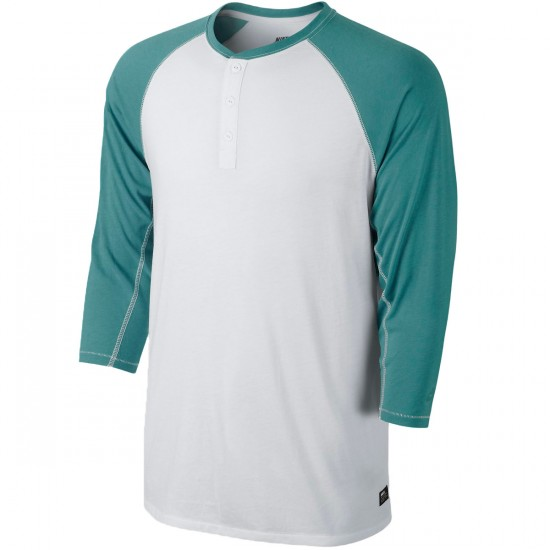 Nike SB Dri Fit 3/4 Sleeve Henley T-Shirt - White/Catalina