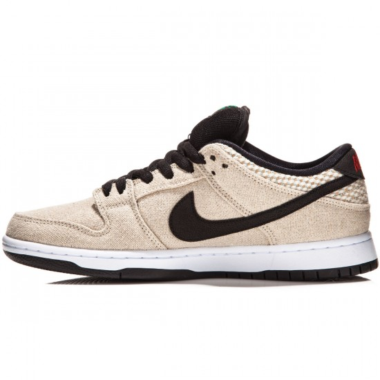 Nike SB Dunk Low Premium Raw Canvas Shoes - Bamboo/White/Red/Black - 4.0