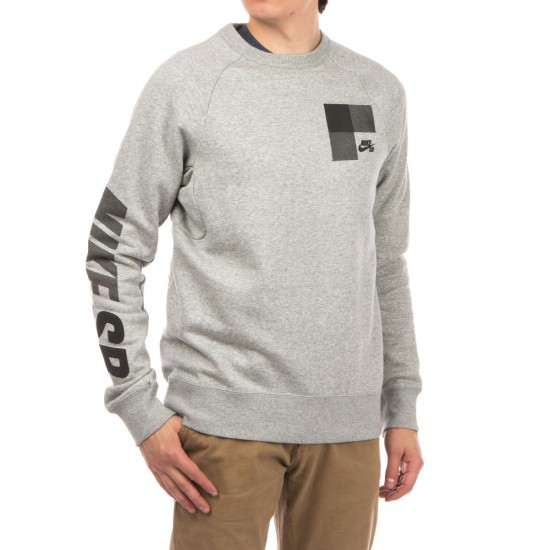 Nike SB Icon Buffalo Plaid Fleece Crew Sweatshirt - Dark Grey Heather/Black