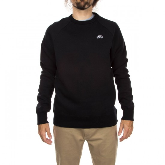 Nike SB Icon Crew Fleece Sweatshirt BlackWhite