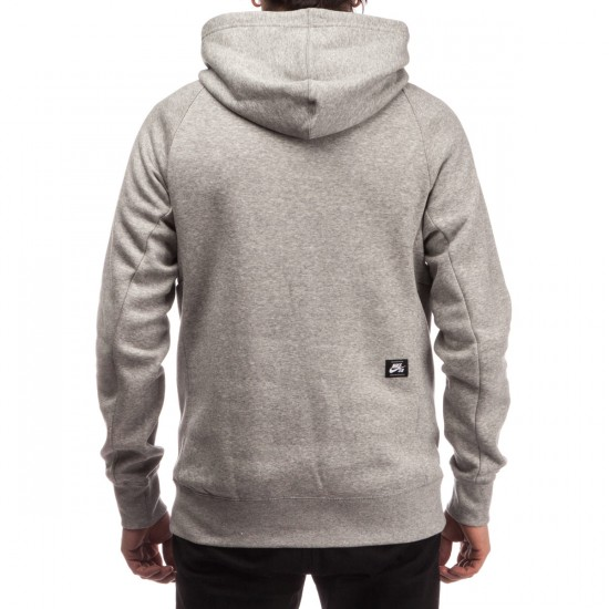 Nike SB Icon Griptape Pullover Hoodie - Dark Grey Heather/White