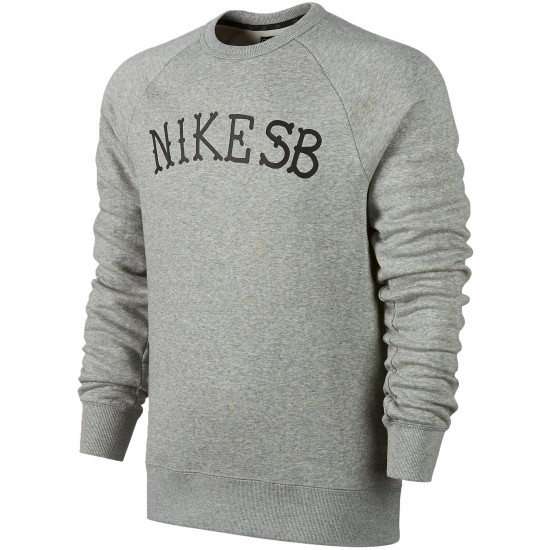 Nike SB Icon Letterman Crew Sweatshirt - Dark Grey Heather/Black