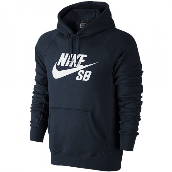 Nike SB Icon PO Sweatshirt - Dark Obsidian/White