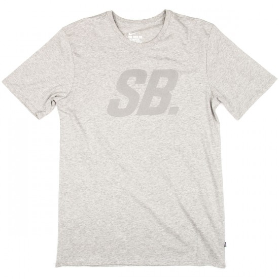 Nike SB Icon Read T-Shirt - Dark Grey Heather/Reflective Silver