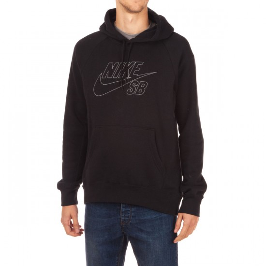 Nike SB Icon Reflective Pullover Hoodie - Black/Reflective Silver