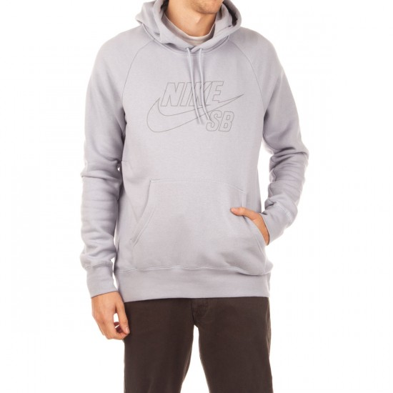 Nike SB Icon Reflective Pullover Hoodie Wolf GreyReflective Silver