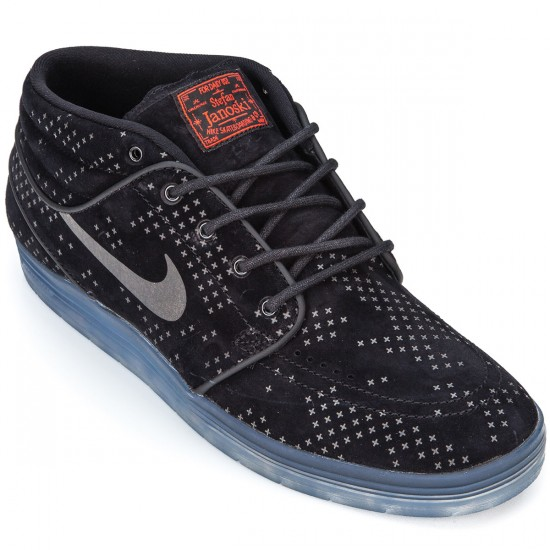 Nike SB Lunar Stefan Janoski Mid Flash Shoes - Black/Clear/Black - 10.0