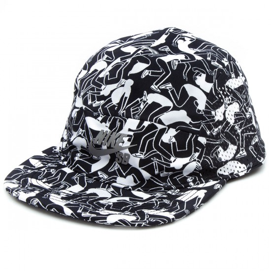 Nike SB Perform Print 5 Panel Hat - White/Black/Reflective Silver