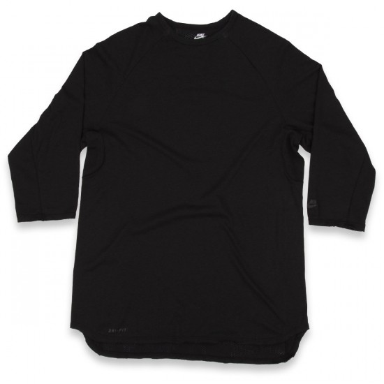 Nike SB Skyline Dri-fit Cool Three - Quarter Crew Neck T-shirt - Black/Black