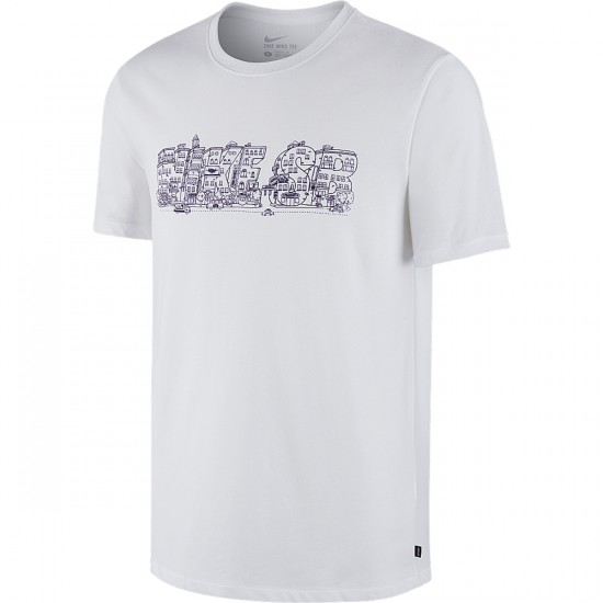 Nike Dri Fit SB Slant City T-Shirt - White/Ink