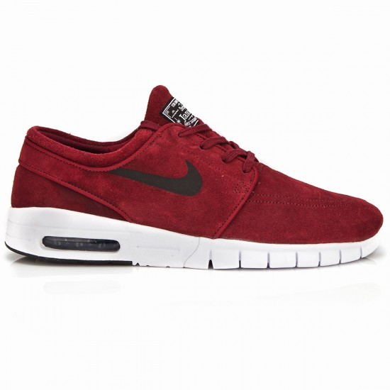 Nike Stefan Janoski Max Shoes - Dark Red/White/Black - 6.0