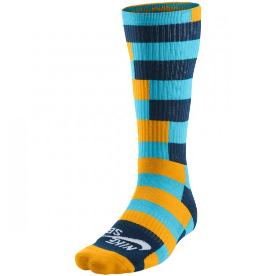 Nike Striped Dri Fit Skate Crew Socks - Clearwater/Gold/Force/White