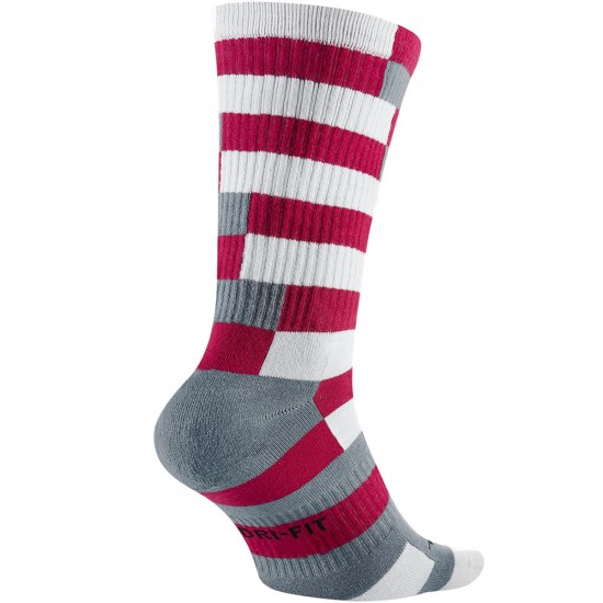 Nike Striped Dri Fit Skate Crew Socks - Dark Fireberry/Black/Blue