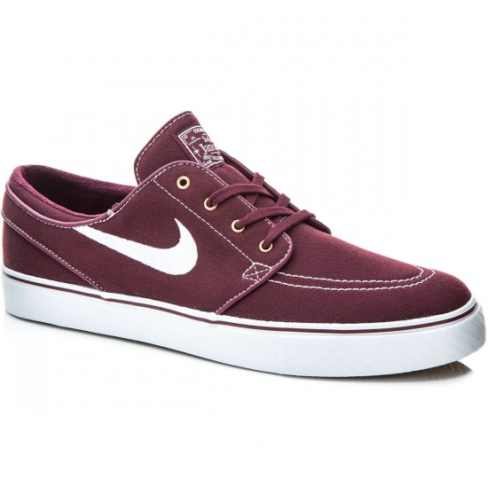 Nike Zoom Stefan Janoski Canvas Shoes - Night Maroon/Gold/Gum/White - 7.0