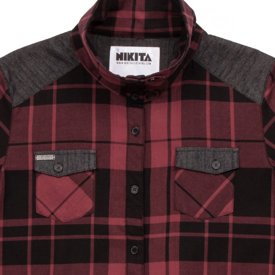 Nikita Delano Plaid Shirt - Jet Black/Rouge