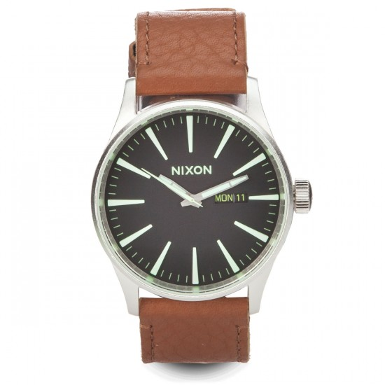 Nixon Sentry Leather Watch - Black/Saddle