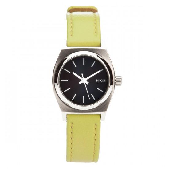 Nixon Small Time Teller Leather Watch - Navy / Neon Yellow