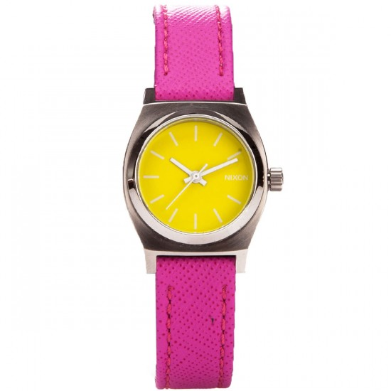 Nixon Small Time Teller Leather Watch - Neon Yellow / Hot Pink